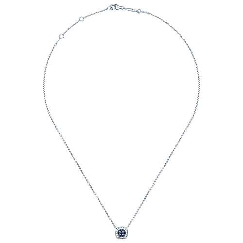 925 Hammered Silver And Pavé Sapphire Fashion Necklace angle 2