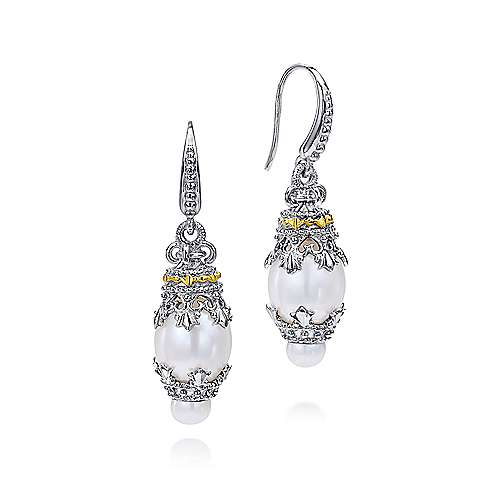 925 Sil,18KY.G. Prl Earrings angle 1