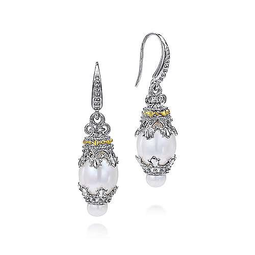 Gabriel - 925 Silver/18k Yellow Gold Mediterranean Drop Earrings