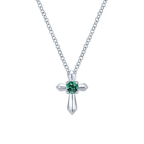 925 Silver  And Emerald Cross Necklace angle 1
