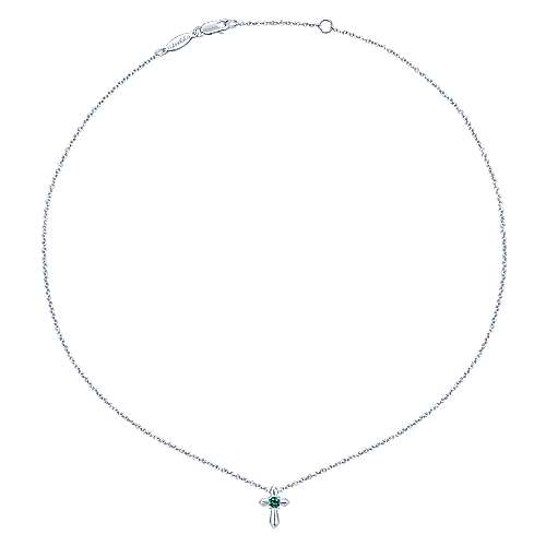 925 Silver  And Emerald Cross Necklace angle 2