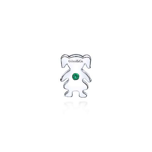 925 Silver  And Emerald Locket Charm Pendant angle 2