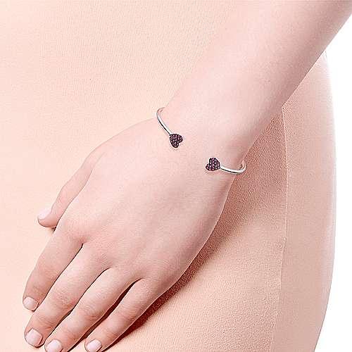 925 Silver  And Ruby Bangle angle 4