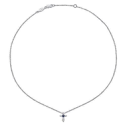 925 Silver  And Sapphire Cross Necklace angle 2