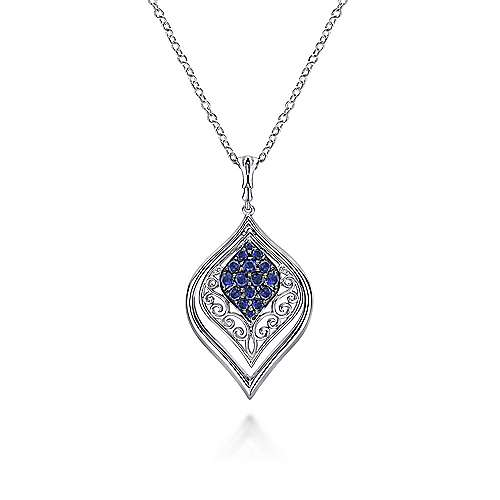 925 Silver  And Sapphire Fashion Necklace angle 1