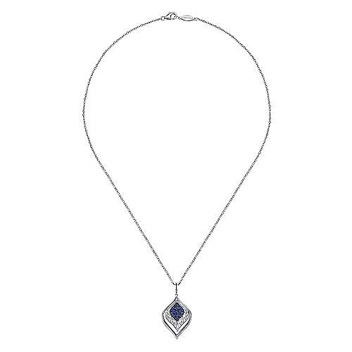 925 Silver  And Sapphire Fashion Necklace angle 2