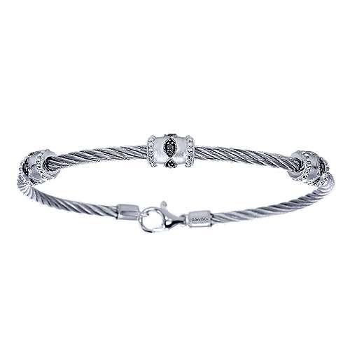 925 Silver & Stainless Steel Black Diamond Bangle