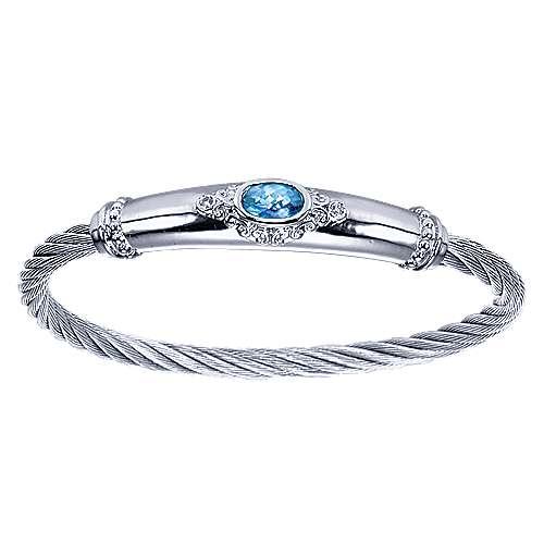 925 Silver & Stainless Steel Diamond & Blue Topaz Bangle