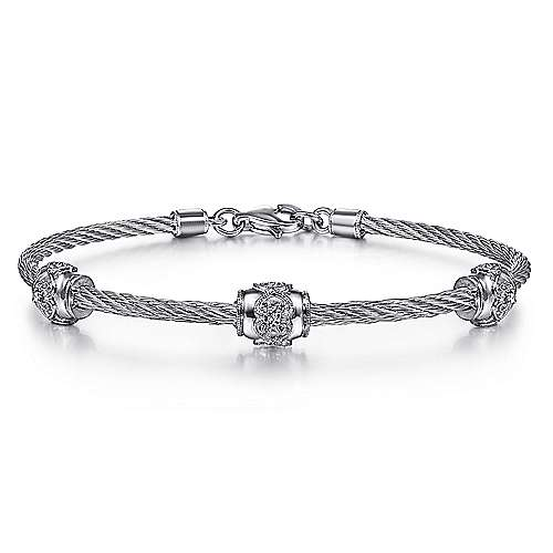 925 Silver & Stainless Steel Fashion Bangle