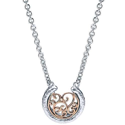Gabriel - 925 Silver/18k Pink Gold Mediterranean Fashion Necklace