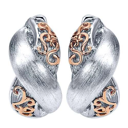 Gabriel - 925 Silver/18k Pink Gold Huggies Huggie Earrings