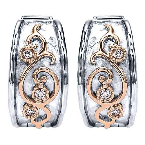 Gabriel - 925 Silver/18k Rose Gold Huggies Huggie Earrings