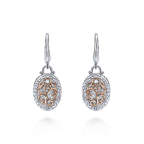 Gabriel - 925 Silver/18k Rose Gold Mediterranean Drop Earrings