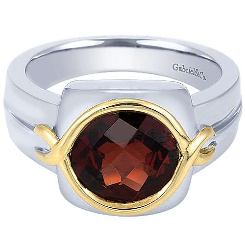 Gabriel - 925 Silver/18k Yellow Gold Color Solitaire Fashion Ladies' Ring