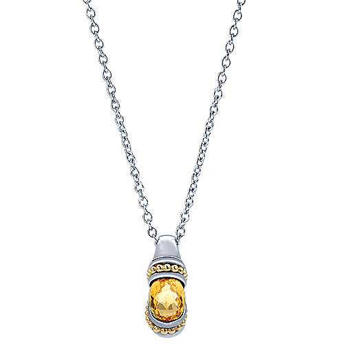 Gabriel - 925 Silver/18k Yellow Gold Color Solitaire Fashion Necklace