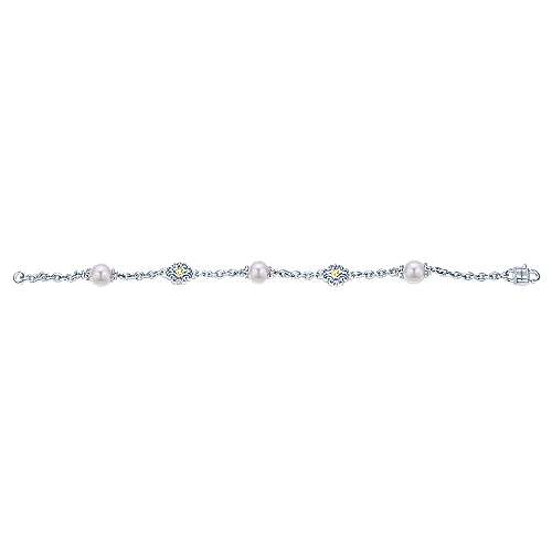 925 Silver/18k Yellow Gold Cultured Pearl Chain Bracelet angle 3