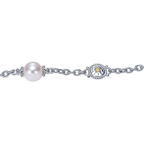 925 Silver/18k Yellow Gold Cultured Pearl Chain Bracelet angle 2