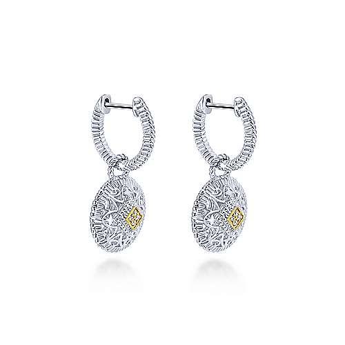 925 Silver/18k Yellow Gold Diamond Drop Earrings angle 2