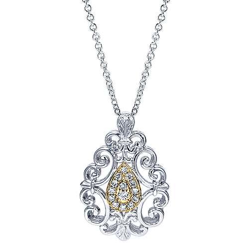 Gabriel - 925 Silver/18k Yellow Gold Mediterranean Fashion Necklace
