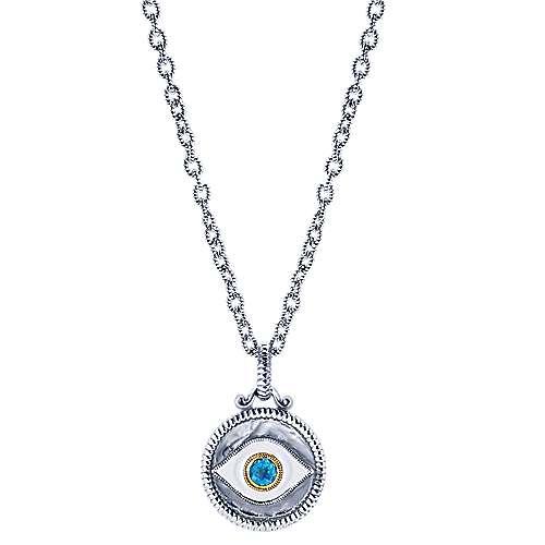 Gabriel - 925 Silver/18k Yellow Gold Evil Eye Fashion Necklace