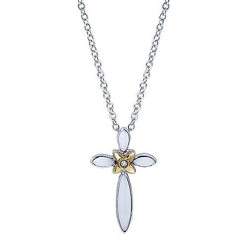 Gabriel - 925 Silver/18k Yellow Gold Faith Cross Necklace