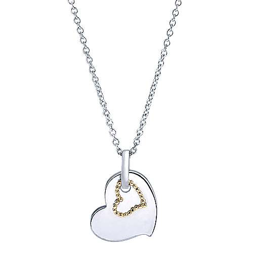 Gabriel - 925 Silver/18k Yellow Gold Eternal Love Heart Necklace