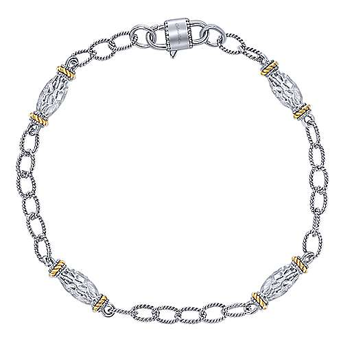 925 Silver/18k Yellow Gold Infinite Gems Chain Bracelet angle 1
