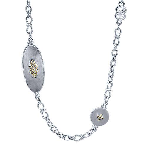 Gabriel - 925 Silver/18k Yellow Gold Infinite Gems Diamond By The Yard Necklace