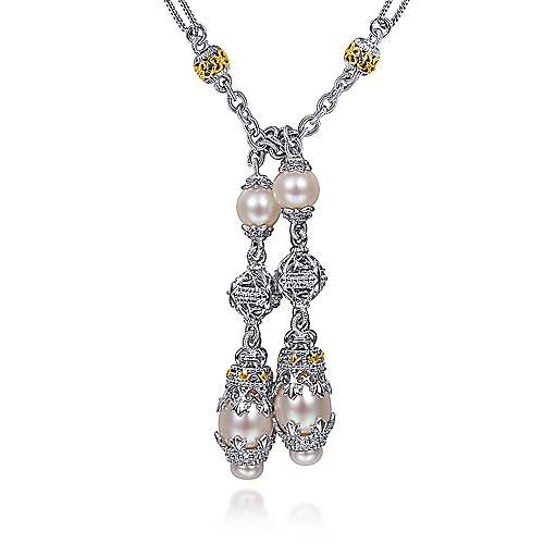 Gabriel - 925 Silver/18k Yellow Gold Infinite Gems Lariat Necklace