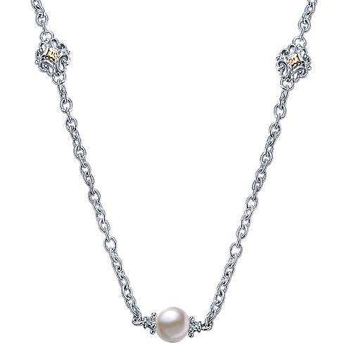 Gabriel - 925 Silver/18k Yellow Gold Infinite Gems Station Necklace