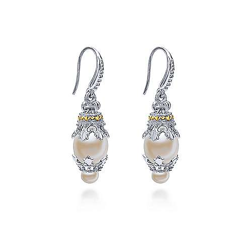 925 Silver/18k Yellow Gold Mediterranean Drop Earrings angle 2