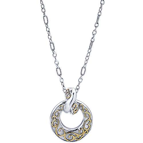 Gabriel - 925 Silver/18k Yellow Gold Mediterranean Fashion Necklace