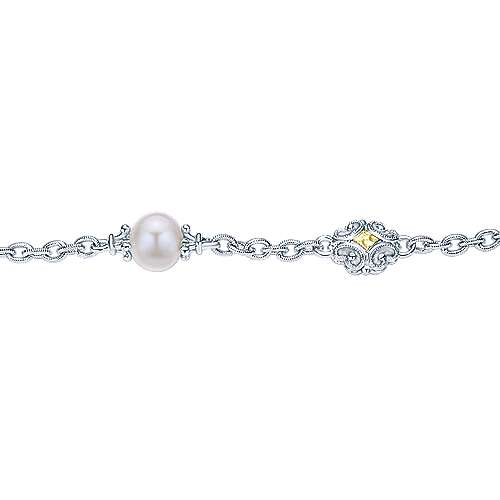 925 Silver/18k Yellow Gold Pearl Chain Bracelet angle 2
