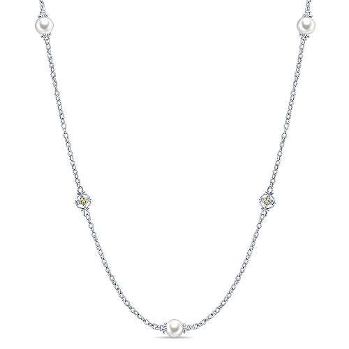 Gabriel - 925 Silver/18k Yellow Gold Infinite Gems Diamond By The Yard Necklace