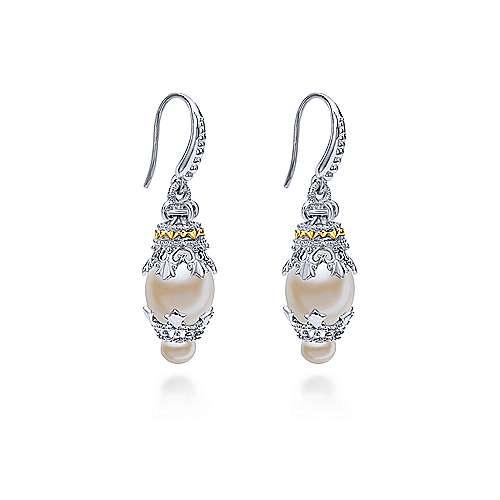 925 Silver/18k Yellow Gold Pearl Drop Earrings angle 2