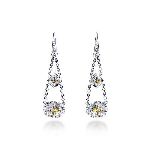 Gabriel - 925 Silver/18k Yellow Gold Roman Drop Earrings