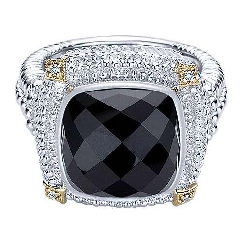 Gabriel - 925 Silver/18k Yellow Gold Roman Fashion Ladies' Ring