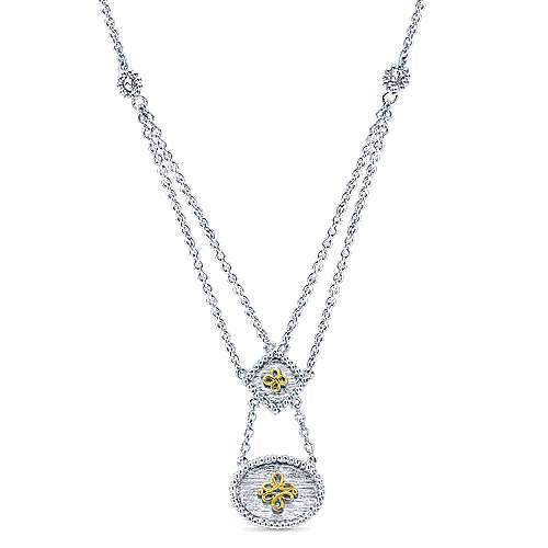 Gabriel - 925 Silver/18k Yellow Gold Roman Fashion Necklace