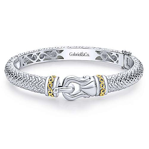 Gabriel - 925 Silver/18k Yellow Gold Stackable Bangle