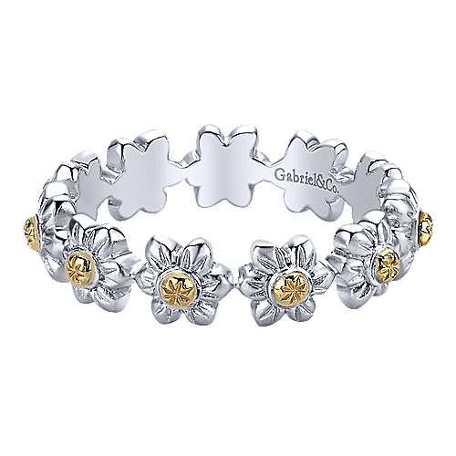 Gabriel - 925 Silver/18k Yellow Gold Stackable Ladies' Ring