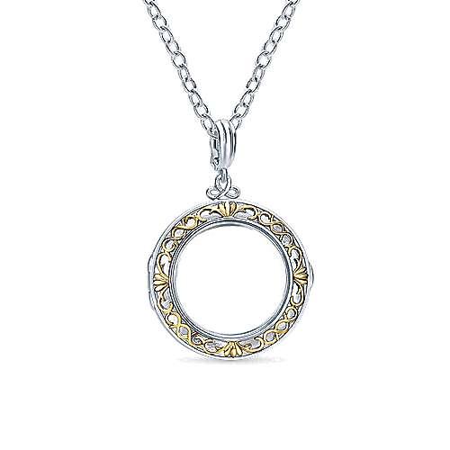 925 Silver/18k Yellow Gold Treasure Chests Locket Pendant angle 3