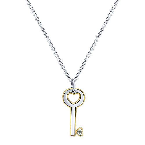Gabriel - 925 Silver/18k Yellow Gold Trends Fashion Necklace