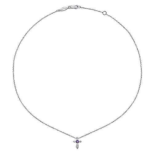 925 Silver Amethyst Cross Necklace angle 2