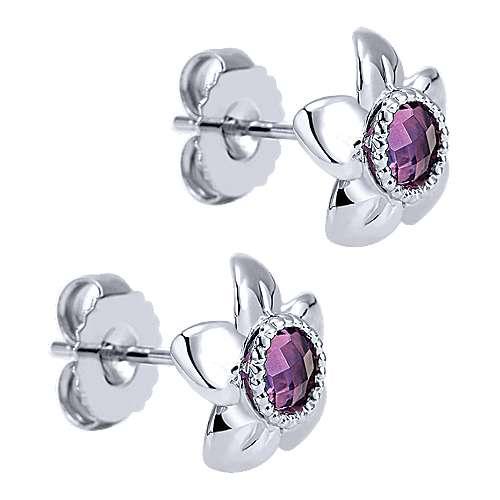 925 Silver Amethyst Stud Earrings angle 2