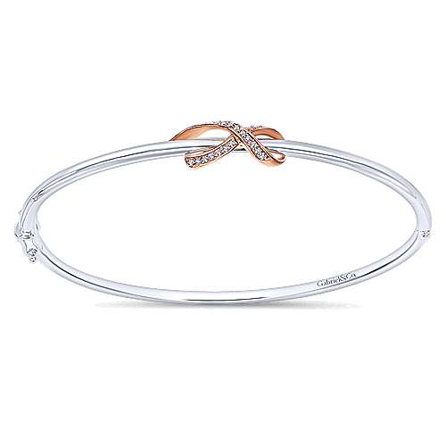 925 Silver And 18k Rose Gold Care Collection Bangle angle 1