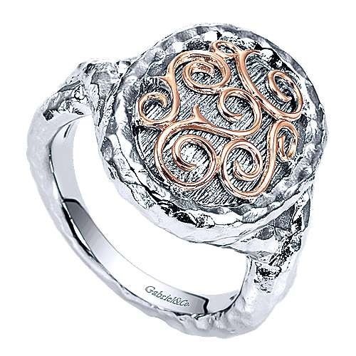 925 Silver And 18k Rose Gold Mediterranean Fashion Ladies' Ring angle 3