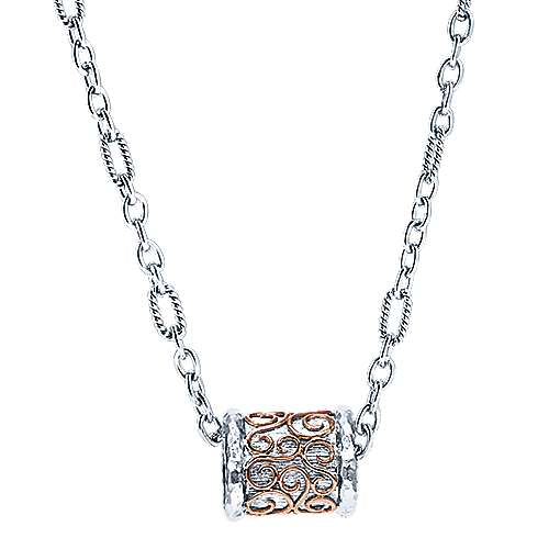 Gabriel - 925 Silver And 18k Rose Gold Mediterranean Fashion Necklace