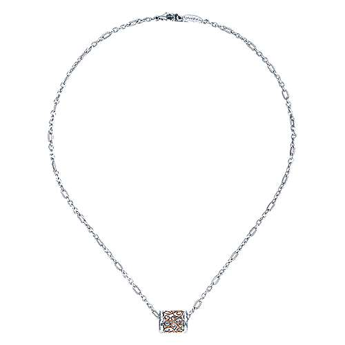 925 Silver And 18k Rose Gold Mediterranean Fashion Necklace angle 2