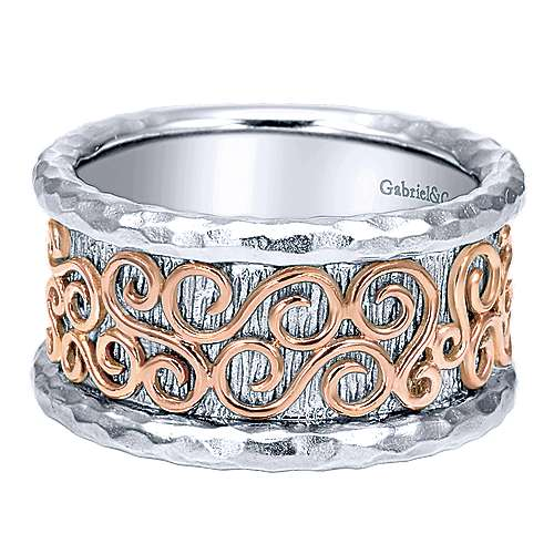 925 Silver And 18k Rose Gold Souviens Wide Band Ladies' Ring
