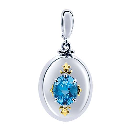 925 Silver And 18k Yellow Gold Color Solitaire Charm Pendant angle 1